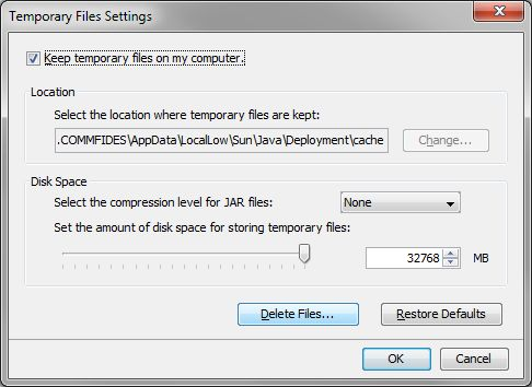 Temporary Files Settings